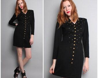 1980's Black Studded Mini Dress / 80s Gold and Black Dress / Long Sleeve / Small