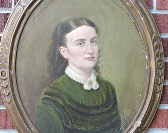 Antique VICTORIAN Shabby Pretty WOMAN in GREEN Dress Oil Portrait Framed c1870-80s