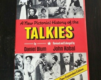 Vintage Book Pictorial History of the Talkies 1982 Retro Hollywood Movies Coffee Table Book 20's 30's Mid Century Golden Age Up to 80's