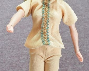 Vintage Doll Clothes Beige Peach Tunic & Leggings 60's Mid Century Fashion Barbie Doll Clothing Embroidery Twist and Shout