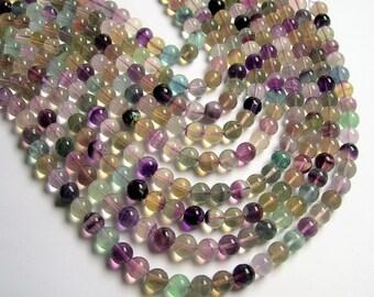 Fluorite - 8 mm round beads -1 full strand - 48 beads - rainbow fluorite - RFG1221