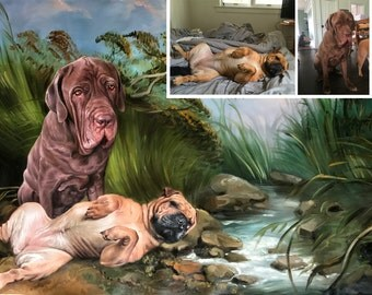 Dog portraits from photo, large oil painting on canvas. 100% money-back guarantee