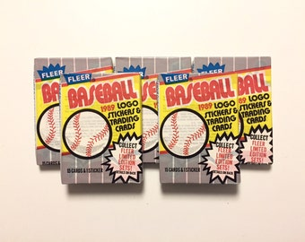 5 Wax Packs 1989 Fleer Baseball Cards, Sealed Vintage 80s Flashback Trading Lot, Possible Ken Griffey Jr RC