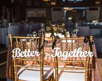 "Wedding Chair Signs ""Better Together"" Hanging Signs for Bride Groom Sweetheart Head Table Decor Wedding Reception Wood Sign (Item - CHB100)"