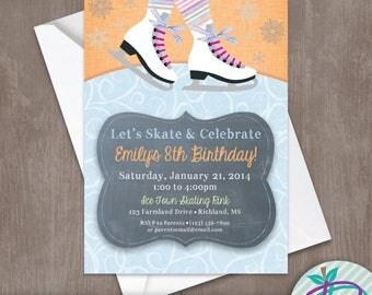 Ice Skating Invitation, Ice Skating Invite, Ice Skating Party Invitation, Ice Skating Party Printable Invite