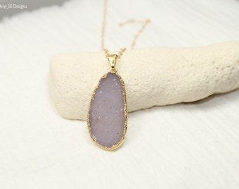 Purple Druzy Necklace, Druzy Jewelry, Lavender Drusy Pendant, Gemstone Necklace, Druzie, Drusy