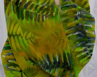 silk scarf large long Green Ferns crepe hand painted unique wearable art women luxury gift