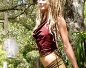 RESERVED Hemp Lycra Cropped Cowl Neck Halter Top Hand Dyed