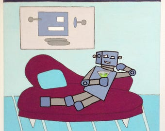 Robot of Leisure: Welcome to the Humble Abode - original artwork - acrylic on canvas