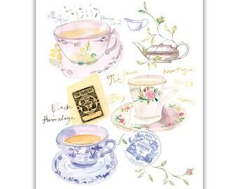 Tea print, Watercolor tea cup painting, Tea poster, Kitchen print, Pastel home decor, Tea art, Blue Kitchen Wall art, Paris decor French art