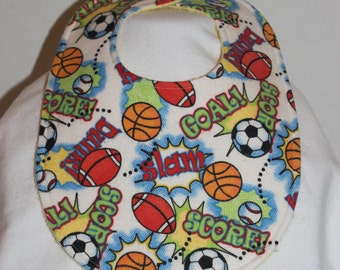 Game On Flannel / Terry Cloth Bib