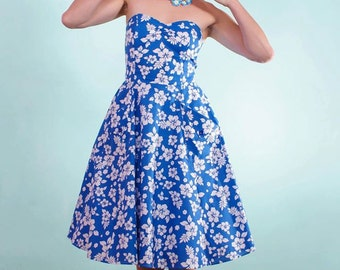 Strapless Royal Blue Hibiscus Swing Dress