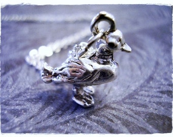 Silver Duck Necklace - Silver Pewter Duck Charm on a Delicate Silver Plated Cable Chain or Charm Only