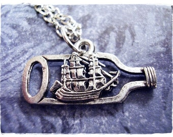 Silver Ship in a Bottle Necklace - Antique Pewter Ship in a Bottle Charm on a Delicate Silver Plated Cable Chain or Charm Only