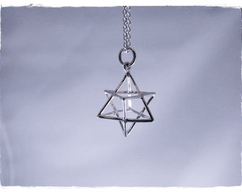 Silver Merkaba Necklace - Sterling Silver Merkaba Charm on a Delicate Sterling Silver Cable Chain or Charm Only