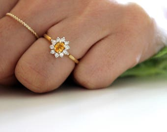 Yellow Sapphire Vintage halo ring, BIRKS, estate halo engagement ring