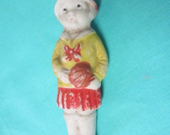 MINIATURE BISQUE DOLL Japan Girl with Ball Antique Distressed Paint Vintage for Collecting or Altered Art Projects