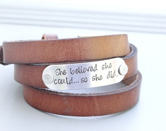She Believed She Could So She Did Triple Wrap Hand Stamped Leather Bracelet. Wrap Bracelet. Inspirational Gift For Her.  Graduation