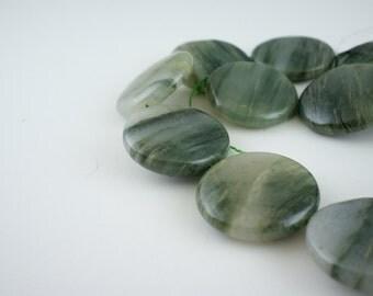 30mm Green Line Jasper Gemstone Puff Coin Beads - 15 inch strand - 13 pieces