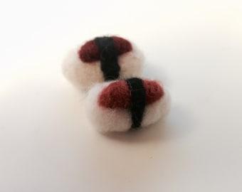 Cat toy sushi - Set of 2 - needle felted cat toys - Organic cat toys