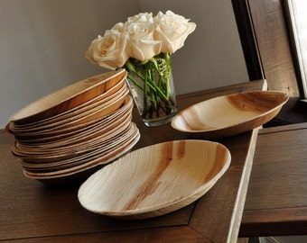 """Round Eco Friendly Plates 7"""".  Ready in 2-3 Business Days.  Disposable Appetizer Plates.  Set of 10 Palm Leaf Plates."""