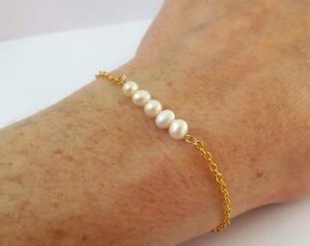Real Pearl Bracelet Bridesmaid, Pearl Gold Bracelet Gold Pearl Bracelet, Dainty Pearl Bracelet, Dainty Gold Bracelet, Dainty Bracelet Pearl