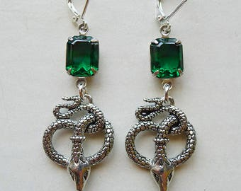 Silver & Emerald Serpents // Gold Plated Snake Earrings with 1950s Emerald Swarovski Crystals Egyptian Revival Art Deco Flapper Bohemian