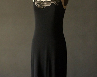 Vintage 90's Black Rayon and Lace Spaghetti Strap Slip Dress by BCBG