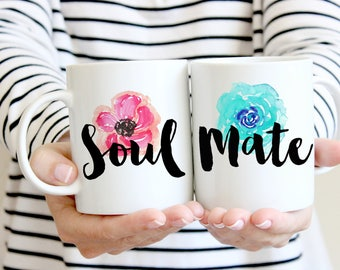 Soulmate matching mugs. Cute couples mugs. Ceramic mug. 11oz mug. Wedding gift.