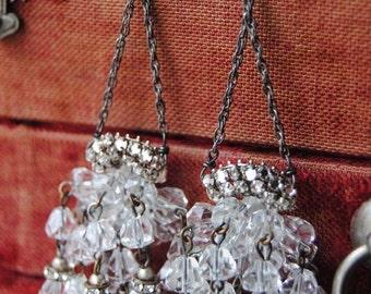 Holiday Chandeliers...Vintage Crystal Rhinestone Silver Chain Chandelier EARRINGS