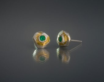 Faceted silver stud earrings Emerald stud earrings May birthstone earrings Minimalist studs Geometric earrings