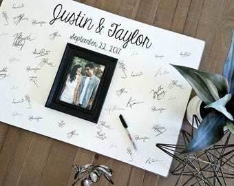 Guest Book Alternative, Wedding Guest Book, Guest Book Frame, Guest Book Wedding, Guest Book Wood Modern 20x30 The Sugared Plums Frames