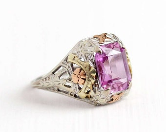 Sale - Antique 10k White Gold Art Deco Created Pink Sapphire Ring - Vintage Filigree 1920s Emerald Cut Stone Rose Gold Flower Fine Jewelry