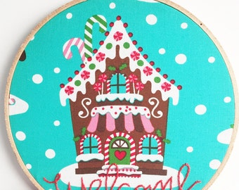 Gingerbread House Welcome Sign. Holiday Home Decor. Embroidery Hoop Art. Modern Christmas Decoration. Teal Christmas. Hand Embroidery.