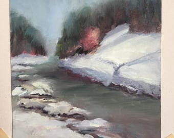 Snowy Winter Hill Abstract Landscape Painting