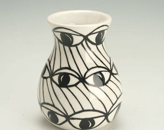 Small Ceramic Vase, Black and White, Eye Design Pattern, Pottery Bud Vase