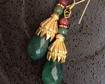 FREE SHIPPING  Cascade EARRINGS  sterling gold ruby jade dangle gem gemstone emerald