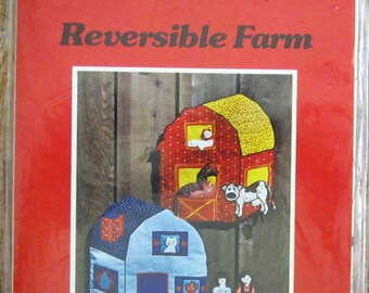 Vintage 1970s Reversible Farm with Five Animals and Two People Yours Truly Pattern UNCUT Designed for Zig Zag Sewing Machines