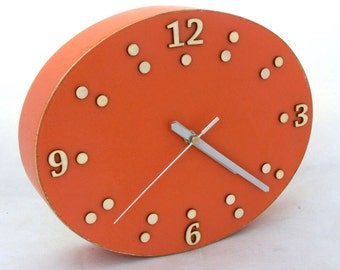 FREE SHIPPING Wall Clock Orange, Wood clock ellipse, Wall hanging clock 12 inches, Unique Oval Clock, Modern Wall art, Wall decor, for Mom