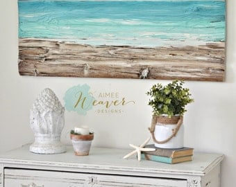 Ocean Beach Painting, Reclaimed Wood, Beach Decor, Rustic Wall Decor