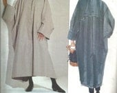 1990s Issey Miyake Oversized Unlined Coat Above Ankle Length Avant Garde Vogue 2736 Uncut FF Women's Vintage Sewing Pattern