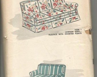 1950s Sofa Couch Loveseat Slipcover Pattern Advance 7517 Factory Folds Vintage Sewing Pattern Home Decor Sewing Pattern