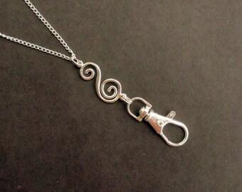 Lanyard Silver, Silver ID Badge Holder, Name Badge Holder Necklace, Swirl S Charm Boho Lanyard Simple Modern Gift for Teacher, Work Lanyard
