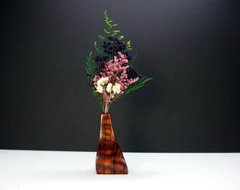 Stylish Miniature Wooden Bud Vase. Weed Pot. One-Of-A-Kind Artisan Vase. Freeform Shaped Bud Vase. Floral Arrangement. Refined Decor.