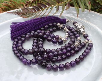Amethyst Mala Beads, 108 bead Mala, Tassel Mala Necklace, Prayer Beads, Yoga Necklace, Amethyst Necklace, Japa Mala, Yoga Jewelry Women, 108
