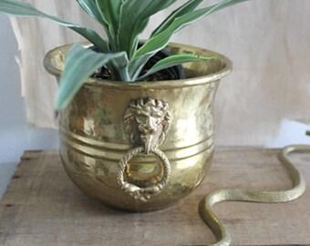 Vintage Decorative Lion Head Brass Planter