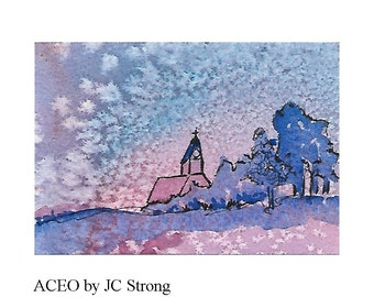 ACEO Watercolor & Ink Original Landscape Miniature Painting Evening Snow Church Tree Art Trading Card  SFA