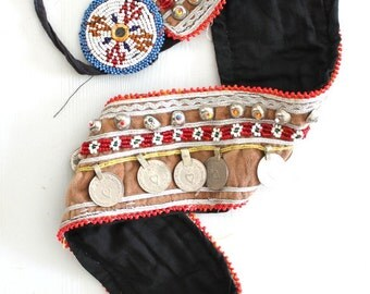 Kuchi Afghan vintage coin belt Authentic nomad handmade Obi belt Belly dancer statement jewelry Tribal Ethnic treasure by Inali