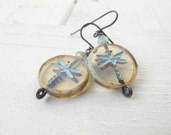 Bohemian Dragonfly Earrings, Summer Blue Dragon Fly Earrings, Clear Round Dangle Earrings, Rustic Czech Glass Jewelry
