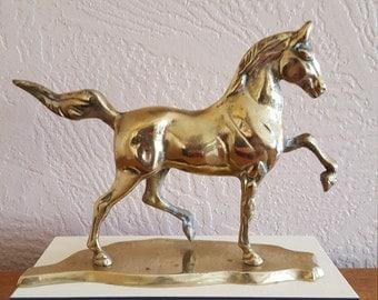 Vintage Brass Horse Statue - Metal Figurine - Oak Hill Vintage